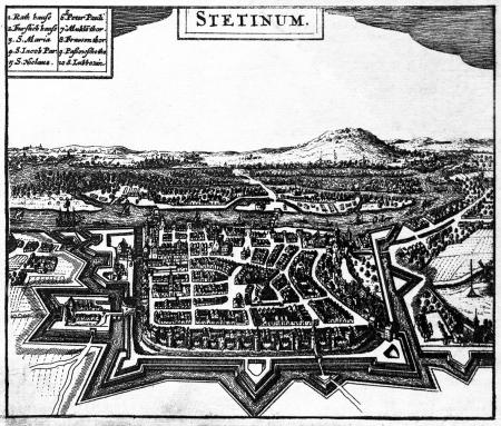 Widok miasta z lotu ptaka od zachodu. Pomniejszony widok według Meriana. 11 x 13cm. MNS/A.Foto/5067 B