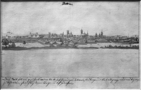 Ogólny widok miasta wraz z Łasztownią od wschodu. Około 1730. Tonowany rysunek piórem. Pierwszy plan pusty, prawdopodobnie rysunek przygotowawczy do sztychu. 15,3 x 28cm. MNS/A.Foto/5068