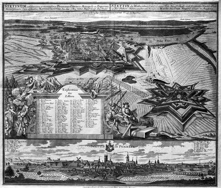 """Szczecin i okolica w roku 1733. (""""Stetinum celeberrima et munitissima Pomeraniea Citerioris Metropolis""""). Z lotu ptaka od zachodu; po prawej nowo wybudowany w 1729 r. Fort Prusy. U dołu widok miasta od wschodu. Miedzioryt, wydany przez Matth. Seuttera w Augsburgu, kolorowany. 49 x 57cm. MNS/A.Foto/5073"""