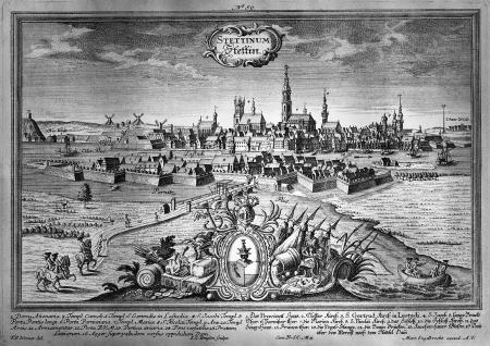 Widok miasta od wschodu, z przodu Łasztownia. Około 1740. Według rysunku F.B. Wernera (nr 44), ale z pierwszym planem i herbem miasta, rytowany przez J.G. Ringlina; Oficyna Martina Engelbrechta w Augsburgu. 19 x 30cm. MNS/A.Foto/5072