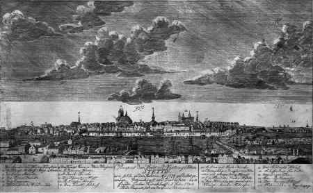Widok miasta i twierdzy Szczecin w kształcie z lat 1798/99. Rysowany i rytowany przez Friedr. Ludwiga Kirchhoffa i syna. 22,5 x 43cm. MNS/A.Foto/5082