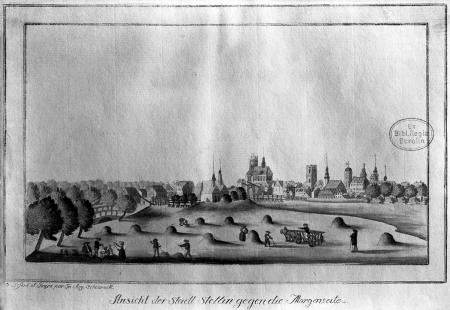 Widok miasta Szczecina od wschodu, Friedrich August Scheureck, akwaforta kolorowana ok. 1790 r., 13 x 22,5cm MNS/A.Foto/5080