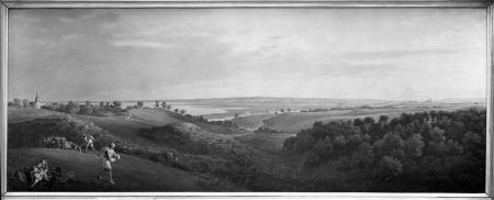 Widok z Golęcina poprzez dolinę Odry na Szczecin. Karl Friedrich Schinkel (1781 – 1841), 1821 r., Obraz. 53,5 x 134cm. MNS/A.Foto/5112
