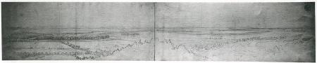Widok jeziora Dąbie (na skraju po lewej Szczecin). Karl Friedrich Schinkel (1781 – 1841), Studium ołówkowe. 23 x 119,5cm. MNS/A.Foto/16144