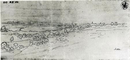 Widok Szczecina od północy. Karl Friedrich Schinkel (1781 – 1841), rysunek piórem. 10 x 22cm. MNS/A.Foto/16118