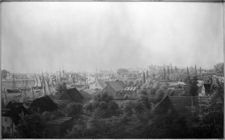 Widok Szczecina z ogrodu loży. Obraz nieznanego malarza (Wilhelm Barth?) około 1840. 152,5 x 94cm. MNS/A.Foto/5090