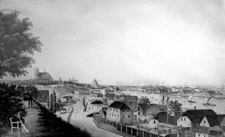 Widok Szczecina z ogrodu J.A. Sacka, W. Henning, ok. 1846 r. MNS/Graf-4032; MNS/A.Foto/16119
