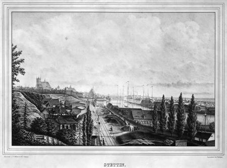 Szczecin od południa, na pierwszym planie dworzec kolejowy. Około 1850- 1860, Zakład Litograficzny F. Müller & Co. w Szczecinie. 24,3 x 37cm. MNS/A.Foto/5098
