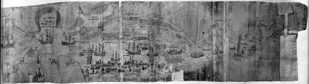 """Mapa Szczecina i okolicy. Około 1580. Najstarsze przedstawienie portu między Mostem Kłodnym i Mostem Długim, nabrzeża wybudowanego w latach 1550 – 1570 oraz """"Łasztowni pod Szczecinem"""" i """"Schiffheuser"""" (spichrzów). Pióro, tusz i akwarela. 32 x 125cm. MNS/A.Foto/5028"""