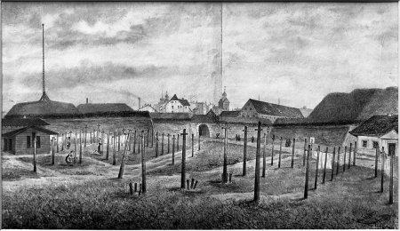 Plac bieliźniany przy Bramie Panieńskiej. Felix Treder (1841-1909), sygn. i dat. 1876. rysunek piórem podmalowany tuszem. 17 x 29,5cm. MNS/A.Foto/5310 A