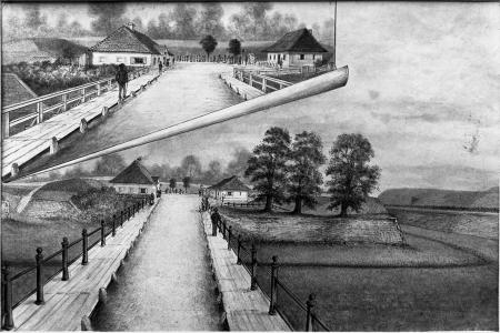 Most przy bramie (Brama Kozia). Felix Treder (1841-1909), rysunek piórem podmalowany tuszem. 13,7 x 24,5cm. MNS/A.Foto/5350 A