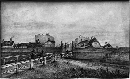 Brama Parnicka na Łasztowni od strony pola. Felix Treder (1841-1909), rysunek piórem podmalowany tuszem. 13,2 x 24cm. MNS/A.Foto/5311 B