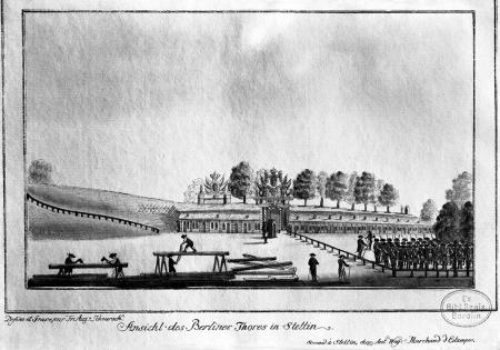 Widok obecnej Bramy Portowej w Szczecinie. Friedrich August Scheureck, akwaforta kolorowana, ok. 1790 r., 13 x 21cm. MNS/A.Foto/5364