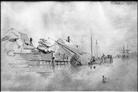 Przy brzegu Bielawy. Rysunek ołówkiem Carla Blechena (1798 Cottbus – 1840 Berlin). Sygn.: Blekholmen Stettin. 17 x 26cm MM. MNS/A.Foto/5329
