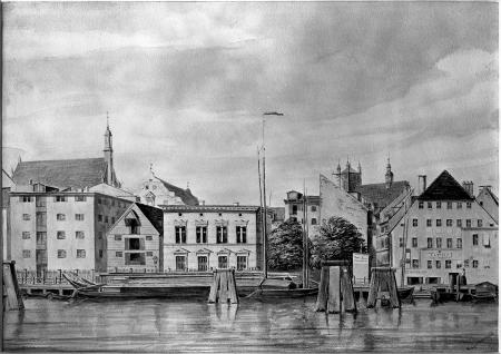 Widok nabrzeża z kościołami św. Jana i św. Jakuba. Akwarela Theodora Kugelmanna z roku 1865. Sygn.: Kugelmann 65. 25,5 x 35,7cm. MNS/A.Foto/5327