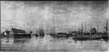 Ujście Duńczycy. Felix Treder (1841-1909), dat. 1876. Rysunek piórem podmalowany tuszem. 13,7 x 27,6cm. MNS/A.Foto/5328 A
