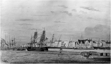 Widok z Łasztowni (spod Urzędu Celnego) na Bulwar Nadodrzański (po prawej Most Długi), 1880 r. Felix Treder (1841-1909), akwarela. MNS/A.Foto/14485