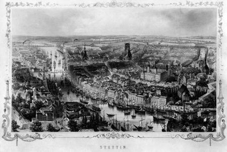 Widok miasta z lotu ptaka. Staloryt Eltznera według rysunku W.Frencha. Około 1850. Oficyna A.H. Payne, Dresden und Leipzig. 20,5 x 33,5cm. MNS/A.Foto/5093