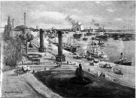 Widok obecnych Wałów Chrobrego. Obraz Eugena Dekkerta (ur. 1865 Szczecin). Sygn.: Eugen Dekkert. 70 x 100cm. MNS/A.Foto/16148