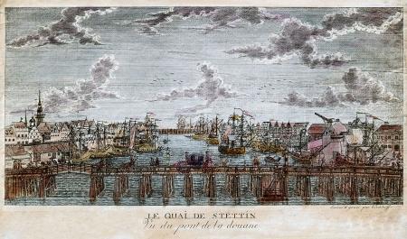 Widok na miasto i port sprzed mostu Długiego na pierwszym planie, miedzioryt (?), F.L. Kirchhoff, 1790 r. MNS/A.Foto/14499