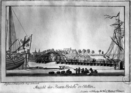 Widok Mostu Kłodnego w Szczecinie. Friedrich August Scheureck, akwaforta kolorowana, ok. 1790 r., 13 x 22cm. MNS/A.Foto/5318