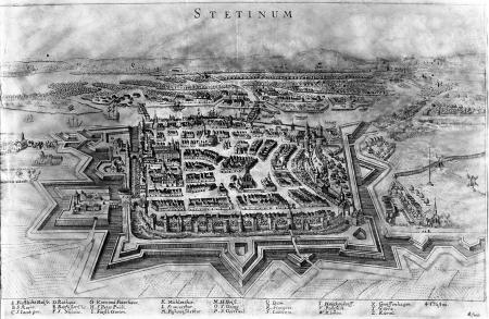 """Szczecin około 1650 z lotu ptaka (""""Stetinum""""). Miedzioryt LS (Lucas Schnitzer?) z Meriana """"Topographia..."""" 23 x 36,5cm. MNS/A.Foto/5060"""