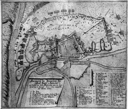 """Oblężenie Szczecina w roku 1659 (""""Abzeichnung der Belägerung...""""). Sztychowany plan twierdzy i okolic z położeniem oblegających oddziałów cesarskich. 31,7 x 37cm. Miasto będące w posiadaniu Szwecji oblegały daremnie od 26 września do 19 listopada wojska cesarskie i brandenburskie pod wodzą Souchesa. MNS/A.Foto/5113"""
