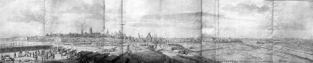 Widok od południa na miasto z wieżą kościoła Mariackiego płonącą po ostrzale 16 sierpnia 1677 r. Na pierwszym planie stanowisko wojsk brandenburskich. 35,3 x 113cm (część lewa i środkowa) MNS/A.Foto/5126, 5126 i 5121