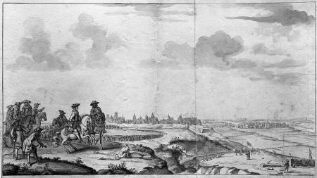 Wielki Elektor ze swym sztabem konno na wałach na południe od miasta. Kwatera główna położona była koło wsi Pomorzany. Nieznany mistrz holenderski. Rysunek piórem, podmalowany sepią i szarym tuszem. 34 x 62,5cm. MNS/A.Foto/5128