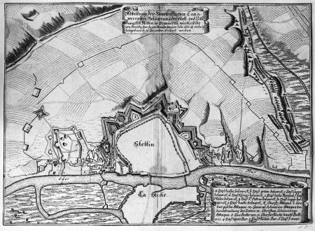 Ilustracja wielkiego długotrwałego oblężenia miasta i twierdzy Szczecin... (1677). Plan miasta sztychowany na miedzi. 26,2 36cm. MNS/A.Foto/5040