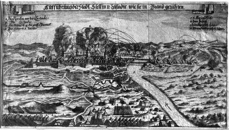 "Oblężenie z 1677 r.(""Aufführung der Stadt Stettin v. Lastadie, wie sie in Brand gerahten"".) Widok od wschodu. Miedzioryt z tegoż czasu. 17 x 30,8cm. MNS/A.Foto/5120"
