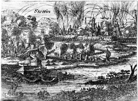 Szczecin. Widok ostrzału. Akwaforta z XVII wieku. 6,3 x 8cm. MNS/A.Foto/5117 B