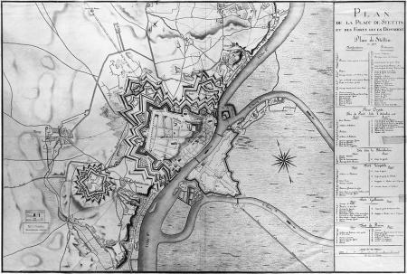 Plan twierdzy Szczecin i fortów z 1808 r., kolorowany, z podaniem funkcji budynków publicznych w okresie okupacji francuskiej od 1806 r., wykonany przez francuskiego rysownika. 75,5 x 112cm. MNS/A.Foto/9192