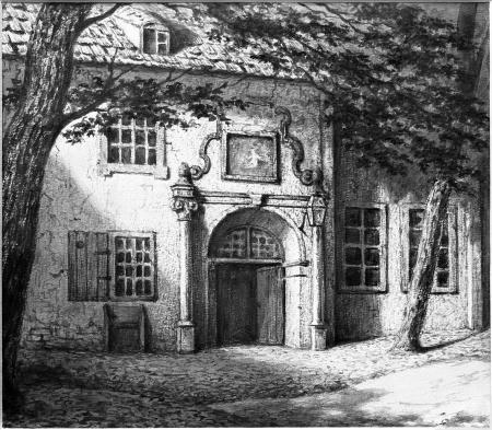 Barokowy portal przy dawnym dziedzińcu klasztornym i kościele św. Jana. Rysunek sepią z roku 1862 Emila Teschendorfa (1823 Szczecin – 1894 Berlin). 20 x 23cm. MNS/A.Foto/5249