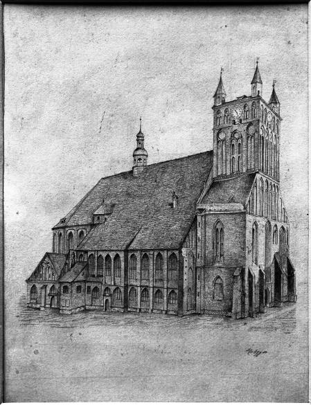 Kościół św. Jakuba od północnego zachodu. Rysunek ołówkiem Metzgera z roku 1887. 23,6 x 17,5cm. MNS/A.Foto/5152