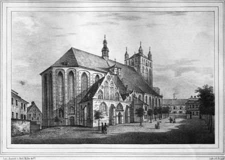Kościół św. Jakuba w 1860 r. Litografia G. Franka. Zakład Litogr. Ferd. Müller & Co. 13,5 x 21,3cm. MNS/A.Foto/5151