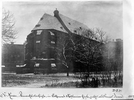 Kościół Mariacki klasztoru żeńskiego. Fotografie z 1897 r. i z czasu przed rozbiórką. MNS/A.Foto/5252 A