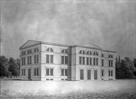 Stare Gimnazjum Fundacji Mariackiej. (wybudowane w latach 1830-1832 na miejscu, gdzie wcześniej stał kościół Mariacki). Wilhelm Brunner, ok. 1850 r., Akwarela. 28,5 x 38,5cm. MNS/A.Foto/5148