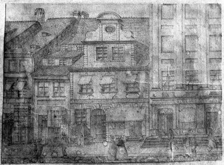 Fragment obecnej ulicy Grodzkiej w Szczecinie około 1830 rysowany przez pannę Kellner, 14,5 x 19,5cm. MNS/A.Foto/5353 A