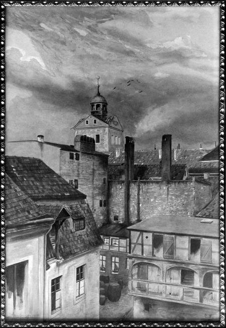 Dziedziniec przy obecnej ulicy Farnej z widokiem na kościół zamkowy. Akwarela Gustava Wimmera (ur. 1877 Szczecin). Sygn.: G.W. 1897. 53 x 38,5cm. MNS/A.Foto/14511