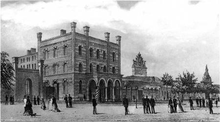 Widok Głównego Odwachu przy Bramie Portowej, litografia, Robert Geissler, ok. 1860-69 r. MNS/A.Foto/14805