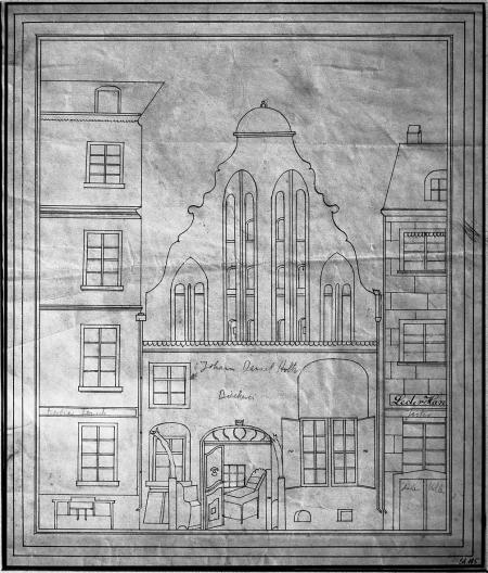 Stary szczeciński dom szczytowy przy obecnej ulicy Tkackiej (36), zburzony w 1836 r. rysunek piórem z około 1830 r. 30,5 x 26cm. MNS/A.Foto/5372