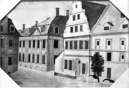 Widok z obecnego placu Orła Białego na dom Wolkenhauera. Narożnik naprzeciw (zburzony) z pięknym renesansowym szczytem. Akwarela z końca XVIII wieku. 24,8 x 36cm. MNS/A.Foto/5345