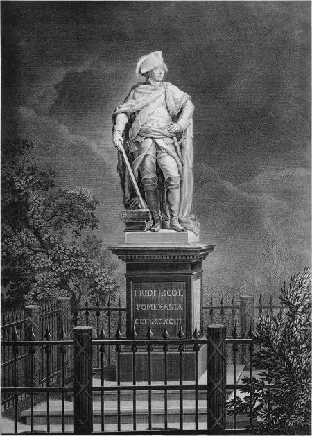 Pomnik Fryderyka Wielkiego Gottfrieda Schadowa. Miedzioryt Daniela Bergera z roku 1793. 51 x 37,5cm MM. MNS/A.Foto/16115