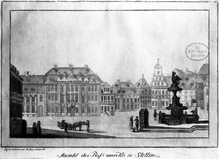 Widok obecnego placu Orła Białego w Szczecinie, Friedrich August Scheureck, akwaforta kolorowana, ok. 1790 r., 13 x 20,8cm. MNS/A.Foto/5342