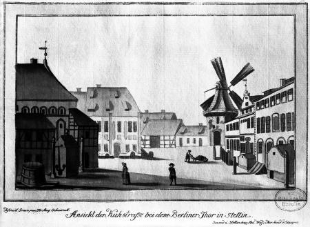 Widok nie istniejącej ulicy Krowiej koło obecnej Bramy Portowej w Szczecinie. Friedrich August Scheureck, akwaforta kolorowana, ok. 1790 r., 13 x 21cm. MNS/A.Foto/5351