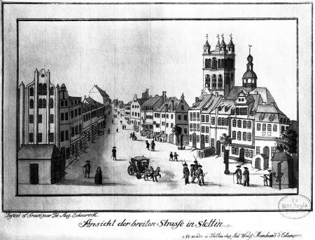 Widok obecnej ulicy kardynała Wyszyńskiego w Szczecinie. Friedrich August Scheureck, akwaforta kolorowana, ok. 1790 r., 13 x 21cm. MNS/A.Foto/5352