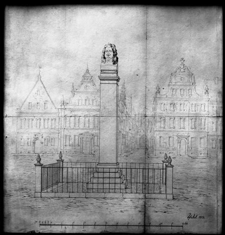 Plan pomnika elektora na dziedzińcu zamkowym, na drugim planie wschodnia pierzeja Rynku Siennego – stylizowana. Karl Friedrich Schinkel (1781 – 1841), 1833 r., rysunek, 33 x 35cm. MNS/A.Foto/5303