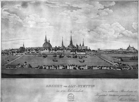 Ogólny widok Szczecina pod koniec XVI wieku, ujęty od wschodu. Litografia Friedricha Lübckego (1833) według obrazu w giełdzie, wcześniej w Domu Żeglarza. 45 x 60,5cm. MNS/A.Foto/5054