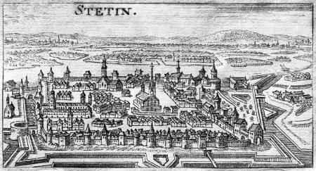 """""""Stetin"""".Pomniejszenie według widoku u Meriana (nr 28). Sztych z """"Der getreue Reis-Gefert"""", Nürnberg, 1689. MNS/A.Foto/13733"""